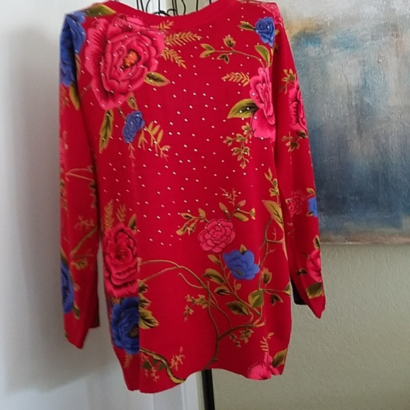 de96907106c Cathy Daniels Sweaters | Red All Over Floral Sweater | Poshmark